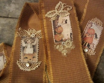 Tattered Ribbon Halloween Vintage Images Lace and Buttons One of a kind Hand Stitched
