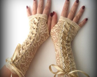 Corset lace fingerless gloves of stretch lace
