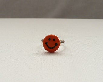 Orange Smiley Face Adjustable Youth Ring