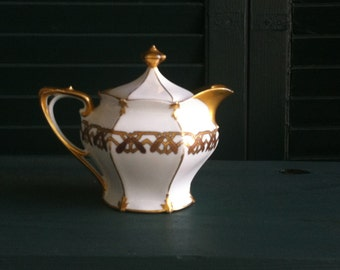 White Porcelain Teapot with Gold Trim