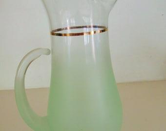 Vintage Blendo Frosted Glass Pitcher Pale Mint Green, 1 Quart