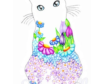 Blue Eyed Kitty Lilac Spring Garden Kitty 8 x 10 Floral Art Print - Wall Art - Home Decor