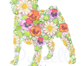 Garden Pug 8 x 10 inch Floral Silhouette with Daisies and Pansies- Wall Art Home Decor