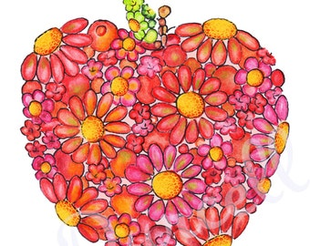 Red Delicious Apple 8 x 10 inch Daisy Floral Art Print - Wall Art Home Decor