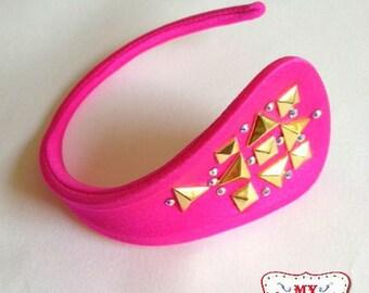Burlesque C-String Underwear Hot Pink w Studs & Crystals