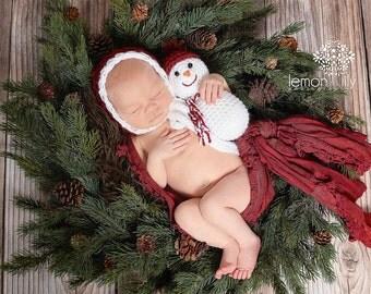 Newborn Baby Bonnet and Snowman Set Photography Prop