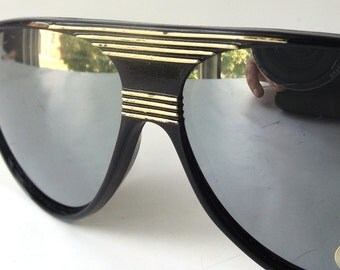vintage 1980's NOS aviator sunglasses black plastic frames silver mirror lenses sun glasses eyewear oversized women mens retro gold stripes