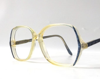 vintage 1980's eyeglasses oversized round clear navy blue plastic frames prescription womens retro modern eye glasses eyewear fashion used
