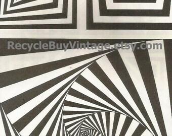 vintage 1970's optic illusion pattern art print book plate black & white pop art design retro home decor mod geometric picture wall 49 50