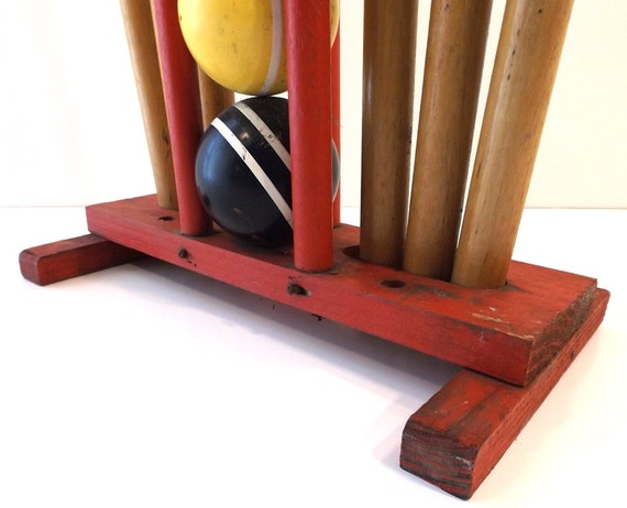 Vintage 60 S Wood Croquet Set W Caddy Balls Mallets