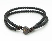 Mens thin black double strand wooden beaded leather bracelet