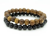 Mens robles brown and black double pack wooden beaded stretch bracelets