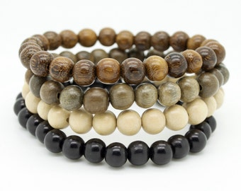 Mens natural graywood robles brown and black wooden beaded stretch bracelets pack