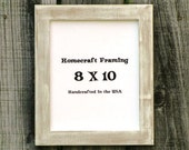 8X10 Picture Frame Distressed White Tan Shabby Chic Wedding Photo Frame
