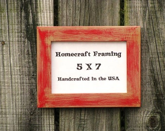 5X7 Picture Frame Distressed Wedding Frame Shabby Chic Rustic Wood Frame Tan Red