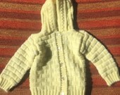 60s Yellow and White Knit Sweater w/ Hood, Baby Size 6 Months