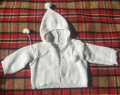 60s Snow Bunny White Knit Sweater w/ Hood & Pom Pom Draw Strings, Baby Size 6 months