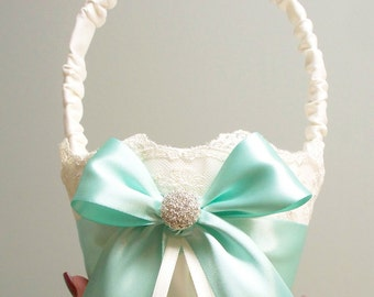 Wedding Basket with Lace, Flower Girl Basket, Aqua Blue Satin Bow and Rhinestone - The ISABEL Basket