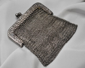 Antique French Chain Mail Metal Fine Mesh Purse Made in France