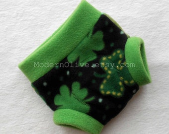 Small Shamrock Fleece Fitted Diaper Soaker Diaper Cover, Green and Black, Ready to Ship for St. Patrick's Day New Baby