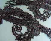 Victorian Ladies Trim Black Jet Black Beads Beaded Embellishment Collar for Dress Mourning Trim Clothes