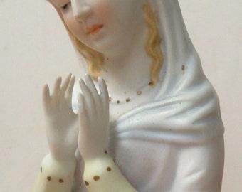 Vintage Lefton Madonna figurine Lefton pottery religious figurine bisque Mary