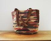 Medium Size Vintage 70s Bohemian Sisal Style Woven Jute Farmers Market Beach Tote Handbag Purse With Suede Straps