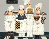 Four TALL Pastry Chefs Art Print, fat chef paintings, art, kitchen art wall decor, fun, bakers, four men, gray, desserts, Vickie Wade art