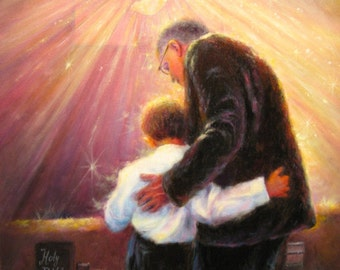 Worship ORIGINAL Painting 12X16 Christian father and son, grandpa, grandson, church painting, religious painting, praise God, Vickie Wade