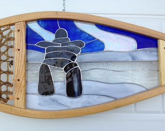 Inukshuk Stained Glass Snowshoe