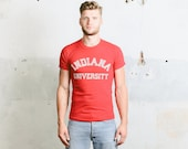 INDIANA University Shirt . 60s College USA Vintage T Shirt Men's Graphic Tee 1960s Red Retro TShirt Top Boyfriend Gift . size Small