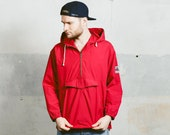 Vintage ANORAK JACKET . Mens Vintage 70s 80s Red Hooded Jacket 1970s Cotton Outerwear Retro Festival Jacket . Small Medium Large