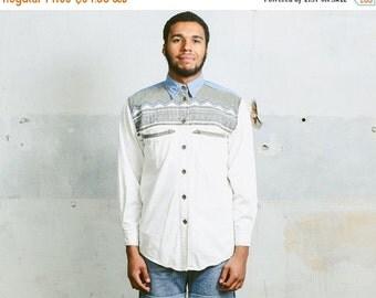 SALE . Vintage DENIM Western AZTEC Print Shirt . Men's 90s White Blue Normcore Minimalist 80s Southwestern Button Down Shirt . size Medium