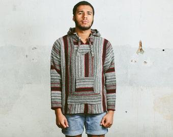 BAJA HOODIE . Vintage 80s Men's Mexican Anorak Jacket White Grey Monochrome Striped Aztec Woven Shirt Southwestern Pullover . Medium Large