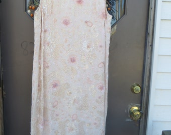 1950 pink beaded sequin silk gown size 12