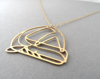 Animal necklace, whale necklace, geometric necklace, gold necklace, unique necklace, ocean necklace, whale jewelry, gold whale
