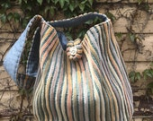 Bulky striped cloth crossbody bag
