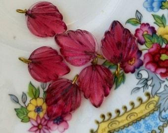 N490 Vintage Leaf Drops Dangles Leaves Glass Czech Pressed Pink Rose NOS Pendant Pendants Charms