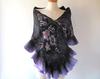 Nuno felted  scarf  Black Violet scarf  Ruffle  floral scarf long shawl by Galafilc