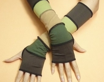 Brown Green Rustical Armwarmers in Upcycled Look Comfortable Mittens Gloves with Thumb Holes, Dark Brown and Beige, Traveler, Reconstructed