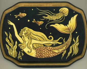 Mounted print wood art- Under the Waves