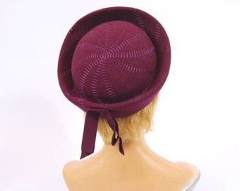 1960s Plum Hat - Purple felt  60s hat