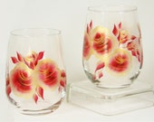 Hand-Painted Stemless Wine Glasses - Gold and Red Roses Set of 4 - Ready to Ship Hand Painted Red Wine Glass