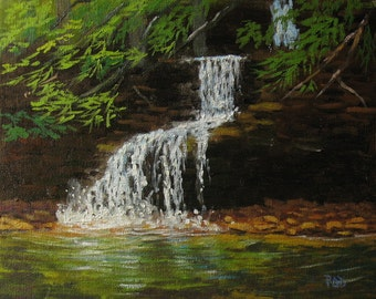 Waterfall painting, original oil, art & collectibles, 8x10