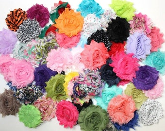 Grab Bag of Shabby Flowers - 2.5 inches - Wholesale Shabby Flowers - Chiffon Rose Flower Trim- Prints and Solids Mix