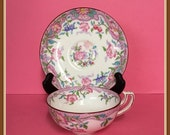 Minton China Tea Cup and Saucer, Pink and Blue Flowers, England, Mid Century, Vintage 1912 to 1950
