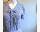 ON SALE vintage. 50s 60s Periwinkle Knit Dress / Small Medium