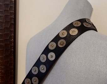 1980s Kenzo Paris Belt Studded Centimes French Coins Black Leather Legendary Designer Rare Find