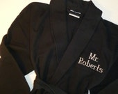 Personalized Robe All Cotton Monogrammed Embroidered BLACK Robe Shawl Collar Unisex Robe, Womens Robe Mens Robe