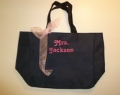 Personalized Custom Tote Bag with Embroidered Name Wedding Bridal Gift Bag